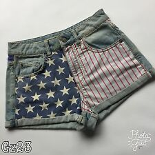 Womens Moto Topshop Blue Denim Shorts with US Flag W26 L10