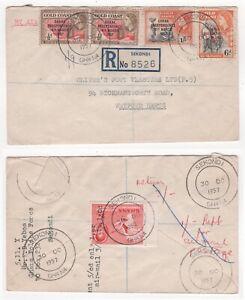 1957 GOLD COAST Registered Air Mail Cover SEKONDI to WATFORD GB Ghana Overprint