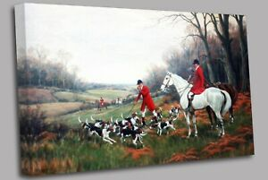Fox Hunting Calling up the Hounds Canvas Wall Art Picture Print