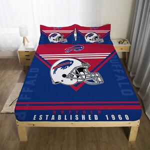 Buffalo Bills Fitted Sheet Set Mattress Cover 3PCS Bed Sheet Pillowcases Gifts