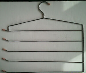 Unbranded Chrome Steel and Rubber used Five Slacks Clothes Hanger