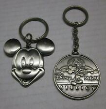 2 RaRe vtg DISNEY MICKEY MOUSE Key Chain Ring MGM Studio Silver Tone Metal VNC