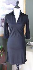 Express Black Poly Stretch Knit 3/4 Sleeve Notch Neck Dress 3/4