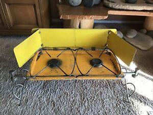 Vintage Primus Sievert Two Burner Camp Stove Sportsman Sweden Made Yellow RARE!