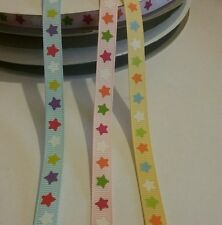 3m Baby ribbon 10mm g/g blue pink or yellow bright stars choose colour UK seller