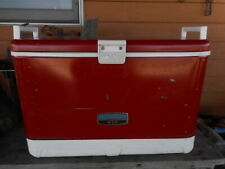 Vintage Thermos Red Beer Cooler Ice Chest 1970's 80's Camping Car Auto Prop