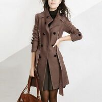 Winter Slim Women Double-breasted Trench Coat Long Jacket Suit Overcoat Outwear