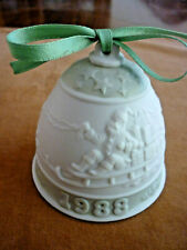 Reduced! 1988 Lladro Porcelain Christmas Bell Ornament- Santa Sleigh w/Reindeer