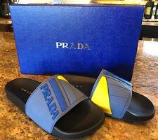 cbf931d725ca0 Prada Linea Rossa Rubber Logo Slide Sandals Flip Flop Blue Yellow UK 6 US 7   250