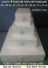 ALZATE TORTE FORME POLISTIROLO RETTANGOLARE 4 PIANI 7,5 cm / h CAKE DESIGN FESTA