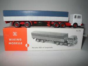 VINTAGE WIKING 1:87 MERCEDES-BENZ 2223 TRACTOR TRAILER 735/2E & C BOX MINT 1971