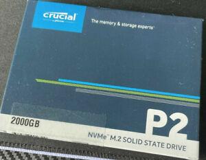 BNIB Crucial P2 2TB NVMe SSD, M.2, PCIe 3.0 (x4), 3D NAND, Read 2400MB/s