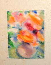 VINTAGE WATERCOLOR PAINTING POST IMPRESSIONIST STILL LIFE WITH FLOWERS SIGNED