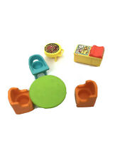 Vtg Lot Fisher Price Little People Furniture Lot Chairs, Table, Grill & More