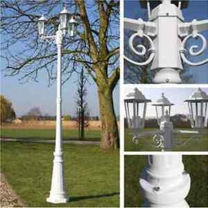 vidaXL Lampe d'Extérieur Blanc Fonte 3 Têtes Lampadaire Éclairage Jardin