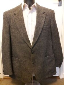 mens grey harris tweed jacket / coat 42R 100% wool 2 button elbow patches