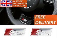 2x S line Silver Alloy Wheel Badge i A1 A3 A4 A5 A6 Q5 Sticker Audi Emblem CP22