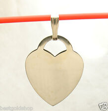Pendant Real Solid 14K Yellow Gold Engravable Reversible Large Heart Tag Charm