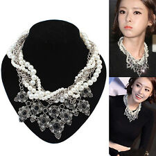 FT- Womens Fashion Jewelry Chain Pearl Crystal Bib Statement Necklace Pendant Ch