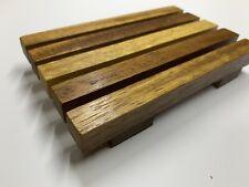 Bathroom Wooden Iroko Wood Soap Dish Drain Tray Holder Storage Rack Plate