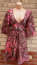 WAREHOUSE 100% SILK DUSTY PINK EMBROIDERED FLORAL BELTED SKATER TEA DRESS 10 S