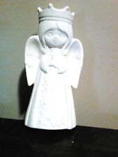 "Ceramic Bisque Christmas Angel 7 1/2"" Candle Holder or Figurine Ready to Paint"