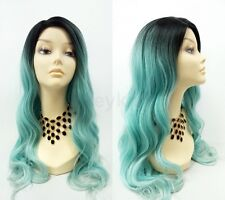 """Turquoise Blue w/ Dark Roots Long Wavy Heat Resistant Wig 25"""""""