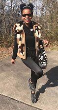 Fab Unique vintage Suede & Multicolor mink Fur vest Coat Jacket Stroller XS-S