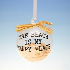 """GLASS BALL w/SAND & SHELLS """"THE BEACH IS MY HAPPY PLACE"""" NAUTICAL XMAS ORNAMENT"""