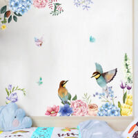 HB- Flower Bird Glass Wall Sticker Adhesive Decal Mural Living Room Home Decor M
