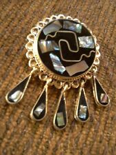Vintage Mexican Jewelry Silver Black Onyx Abalone Pin Necklace Pendant