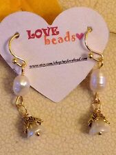 Romantic Flower & Freshwater Pearl Dangle Earrings. Love. Wedding. Summer. Gift.