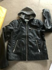 H&M FAKE BoysLEATHER JACKET WITH HOODIE 11-12 152 Cm Gorgeous