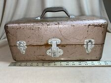 Vintage Eagle Lock Co. Metal Fishing Tackle Box With Cork Lined Shelves has Keys