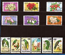 PHILIPPINES 2 sèries complètes 1685-1660 et 1411-1416 Fleurs, oiseaux  Ax215T1