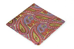Lord R Colton Masterworks Pocket Square - Autumn Gold & Red Silk - $75 New