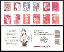 Carnet LES VISAGES de la 5 ième REPUBLIQUE  12 timbres autocollants Parfait état