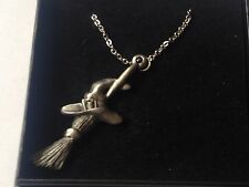"Witches Broom code dr68 Made From  Pewter On 16"" Silver Plated Curb Necklace"