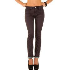 Markenlose Damen-Jeans im Gerades Bein-Stil aus Denim mit Mittel
