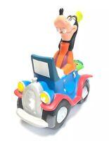 "Vintage Disney  Goofy Piggy Bank Coin Bank Hard Rubber Goofy In Car. 7x7"" W/Stop"