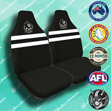 NEW! COLLINGWOOD MAGPIES FRONT CAR SEAT COVERS, OFFICIAL AFL, AIRBAG COMPATIBLE