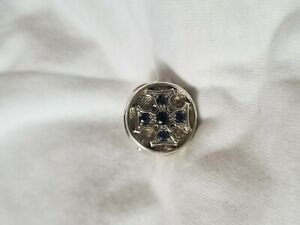 "MEN ""S SIGNET MALTESE CROSS RING .925 with 0.50 blue SAPPHIRE size11 SUPERB !"