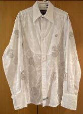 NWOT Designer English Laundry Men's Long Sleeve White embroidered shirt Size M