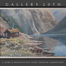 RARE! 20TH CENTURY DANISH HANS ERIKSEN ORIG LANDSCAPE OIL PAINTING! Art Vtg
