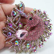 New Pretty Horse Animal Unicorn Drop Brooch Pin Pendant Pink Rhinestone Crystal