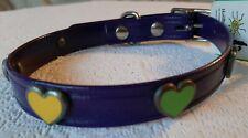 "Hotdogs Purple Hearts faux Leather Dog Collar enamelled stud M 14-18""  neck size"