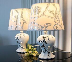 2 Lampen weiß silber Nachttischlampe Leuchte Keramik Tischlampe Tischleuchte 31