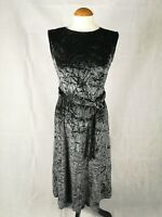 Ladies Dress Size 10 PETITE Next Grey Crushed Velvet Midi Stretch Party Evening