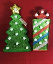 Merry Brite LED Marquee Metal Christmas Tree & Gift Lighted