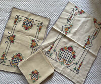 12 Piece Vintage/Antique Table Runner Placemats Napkins Hand Embroidered EUC